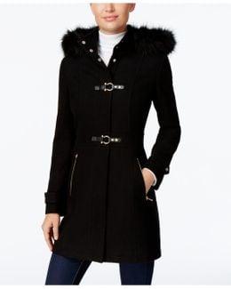 Faux-Fur-Trim Buckled Walker Coat
