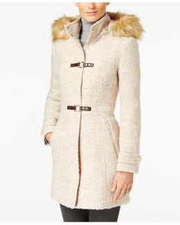 Faux-Fur-Trim Buckled Wool-Blend Walker Coat