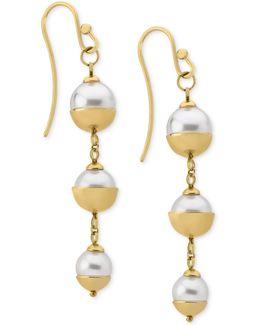 18k Vermeil Imitation Pearl Triple Drop Earrings