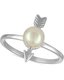 Sterling Silver Imitation Pearl Arrow Statement Ring