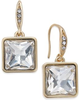 Gold-tone Square Crystal Mini Drop Earrings