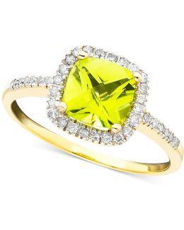 10k Gold Peridot (1-1/3 Ct. T.w.) & Diamond (1/5 Ct. T.w.) Ring