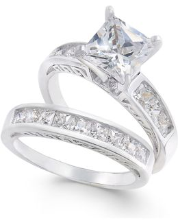 2-pc. Set Cubic Zirconia Princess-cut Rings In Sterling Silver