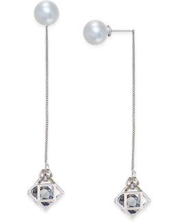Silver-tone Imitation Pearl Geometric Linear Earrings