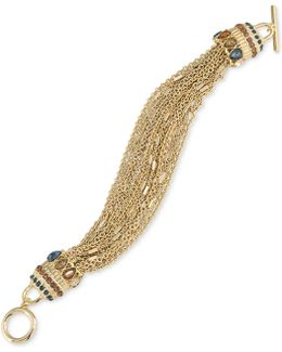 Gold-tone Crystal-enhanced Multi-chain Toggle Bracelet