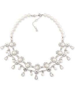 Silver-tone Imitation Pearl And Crystal Collar Necklace