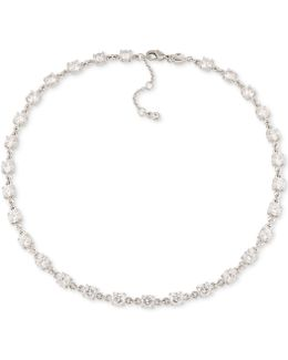 Silver-tone All-around Crystal Collar Necklace