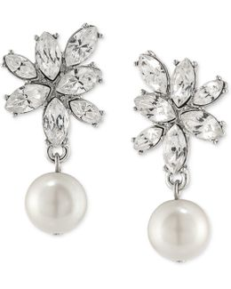 Silver-tone Imitation Pearl And Crystal Drop Earrings