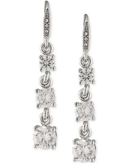 Silver-tone Graduated Crystal Linear Drop Earrings