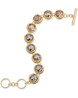 Gold-tone Crystal Toggle Bracelet