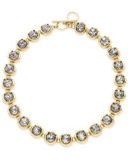 Gold-tone Crystal Toggle Collar Necklace
