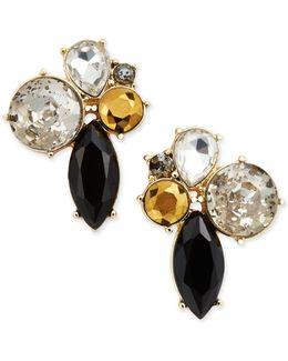 Gold-tone Dark Horse Cluster Earrings