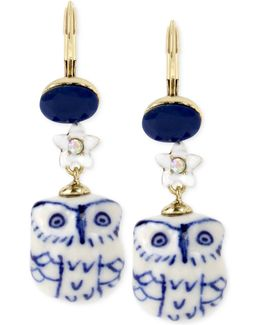 Gold-tone Blue And White Ceramic Owl Drop Earrings