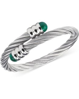 Women's Celtic Malachite-accent Stainless Steel Cable Bangle Bracelet 04-01-1165-4