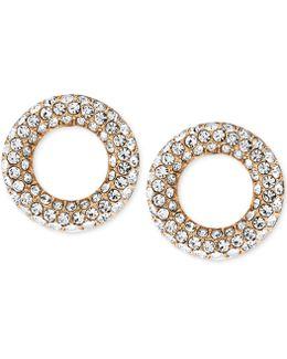 Pave Crystal Circle Stud Earrings
