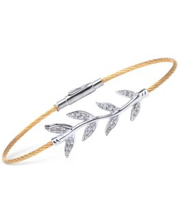Women's Laetitia White Topaz-accent Leaves Two-tone Pvd Stainless Steel Bendable Cable Bangle Bracelet 04-421-1222-2