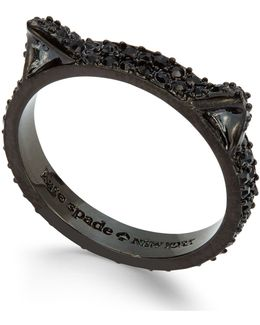 Black-tone Dark Crystal Pavé Cat Ring