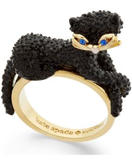 Gold-tone Jet Pavé Three-dimensional Cat Statement Ring