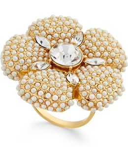 Gold-tone Imitation Pearl And Crystal Flower Statement Ring