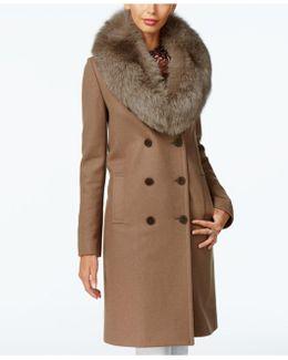Fox-fur-trim Double-breasted Walker Coat