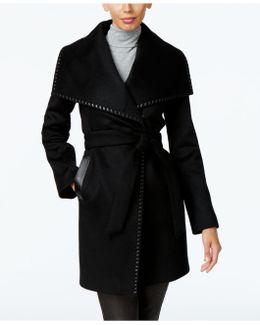 Leather-trim Wrap Coat