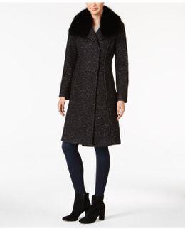 Raccoon-fur-trim Bouclé Walker Coat