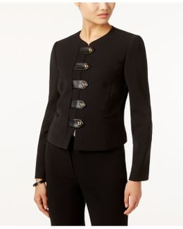 Faux-leather-trim Snap-front Blazer