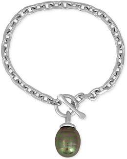 Silver-tone Baroque Imitation Gray Pearl Charm Bracelet