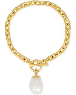 Gold-tone Baroque Imitation Pearl Charm Bracelet