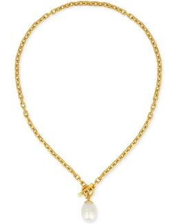 Gold-tone Baroque Imitation Pearl Pendant Necklace