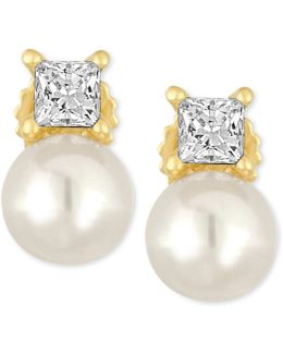 Gold-tone Imitation Pearl And Crystal Stud Earrings
