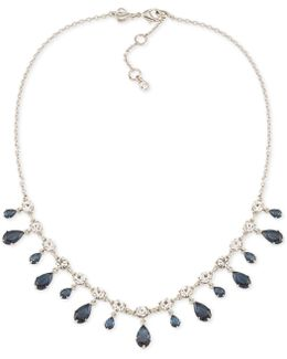 Silver-tone Blue And Clear Dangle Crystal Collar Necklace