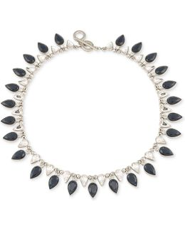 Silver-tone Jet And Clear Teardrop Crystal Collar Necklace