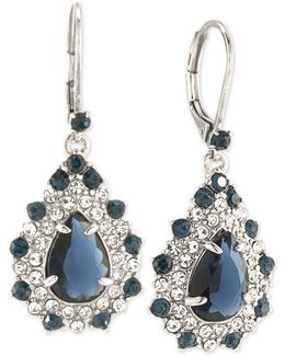 Silver-tone Blue And Clear Crystal Teardrop Cluster Drop Earrings