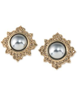 Gold-tone Imitation Pearl And Pavé Stud Earrings