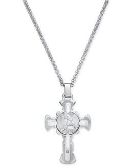 Men's Diamond Accent St. Michael Cross Pendant Necklace In Stainless Steel