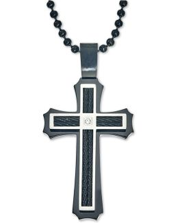 Men's Diamond Accent Cross Pendant Necklace In Stainless Steel And Ion-plating