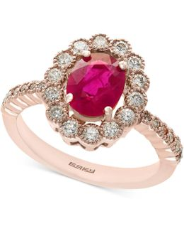Certified Ruby (1-3/8 Ct. T.w.) And Diamond (5/8 Ct. T.w.) Statement Ring In 14k Rose Gold