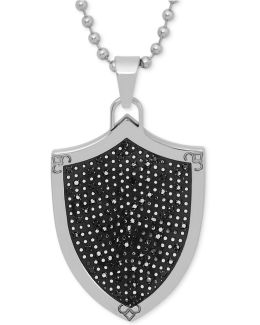 Men's Diamond Shield Pendant Necklace In Stainless Steel And Rhodium Plate
