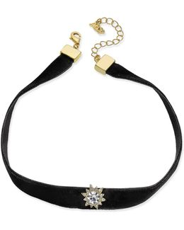 Gold-tone Black Velvet Crystal Choker Necklace