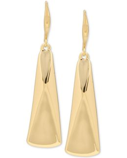 Gold-tone Sculptural Rectangle Drop Earrings