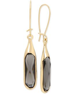 Gold-tone Jet Stone Sculptural Drop Earrings