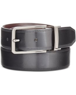 Men's Big & Tall Silver Lines Leather Belt