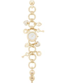Women's Gold-tone Key Charm Bracelet Watch