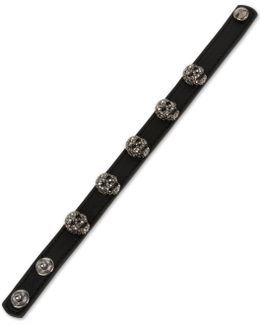 Leather Skull Snap Bracelet