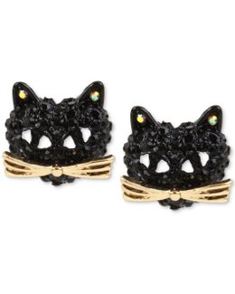 Two-tone Pavé Black Crystal Cat Stud Earrings
