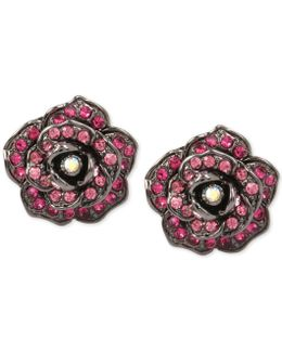 Crystal Pavé Rose Button Stud Earrings