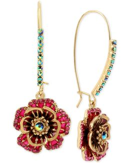 Gold-tone Multi-crystal Flower Drop Earrings