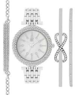 Women's Silver-tone Bangle Bracelet Watch Gift Set 34mm In002slv