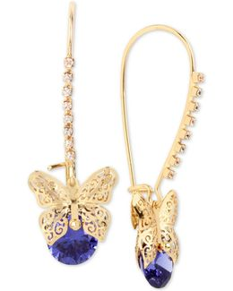 Gold-tone Filigree Butterfly And Stone Drop Earrings